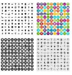 100 mushrooms icons set variant vector