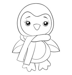 a cartoon penguin with scarf image for adults and vector image