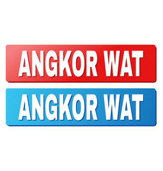 Angkor wat title on blue and red rectangle buttons vector