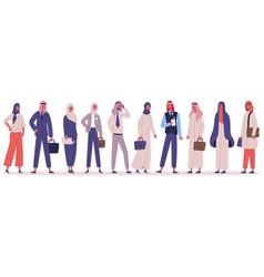 arabic muslim stylish business people group vector image