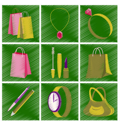assembly flat shading style icons accessories vector image