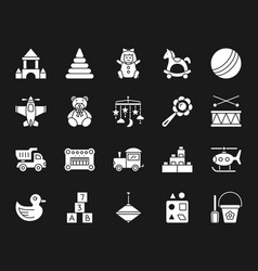 baby toy white silhouette icons set vector image