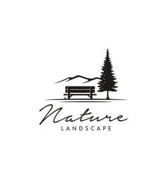 Bench evergreen fir pine tree landscape hills logo vector
