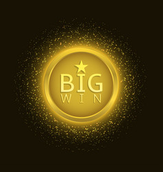 big win label vector image