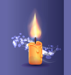burning candle in realistic design icon vector image