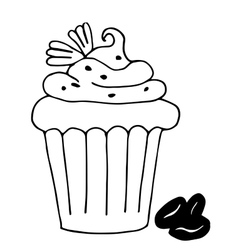 Cake with coffee cupcake drawn in outline vector