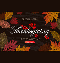 Calligraphy thanksgiving day sale banner vector