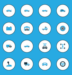 Car colorful icons set with sports automobile vector