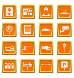 Car parking icons set orange vector