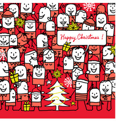 Cartoon people and happy christmas card vector