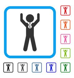 Child champion framed icon vector
