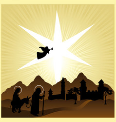 Christmas nativity mary and joseph 2 vector
