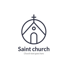 Church line icon christian logo vector