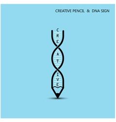 Creative pencil and DNA symbol vector