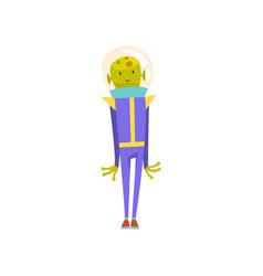 Cute friendly green alien funny humanoid cartoon vector