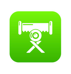 cutting saw icon green vector image