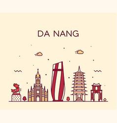 da nang skyline vietnam trendy linear style vector image