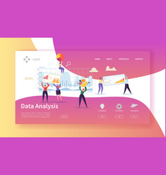 data analysis concept landing page flat people vector image