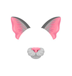 detailed flat icon of pink cat s ears and vector image