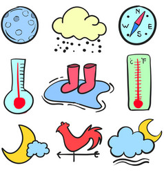 Doodle of element weather theme vector