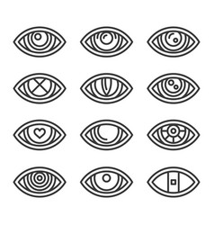 eye icons set on white background line style vector image