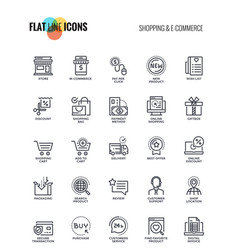 flat line icons design - shopping and e commerce vector image