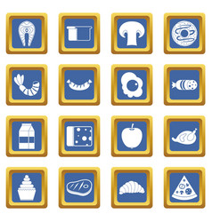 Food icons set blue vector