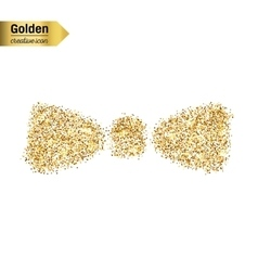 Gold glitter icon of bow tie isolated on vector