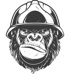 Gorilla in the building helmet vector