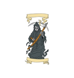 Grim reaper scythe scroll drawing vector