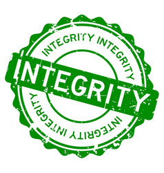 Grunge green integrity word round rubber seal vector