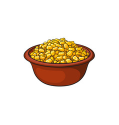Hand drawn bowl of canned tinned sweet corn vector