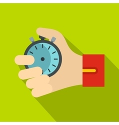 Hand holding stopwatch icon flat style vector image