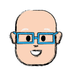 Happy man with bald head and glasses vector