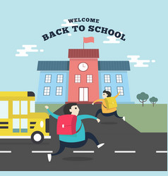 happy students running to school with school bus vector image