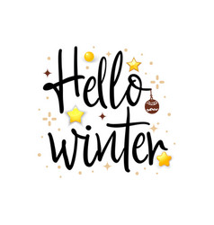 Hello winter holiday banner vector