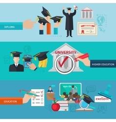 Higher education banner set vector