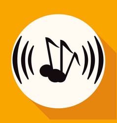 icon music on white circle with a long shadow vector image