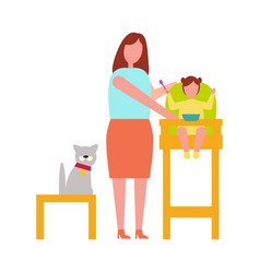 icon of mother with child vector image