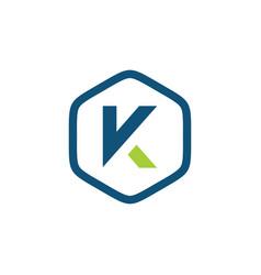 Initial k hexagon logo template vector