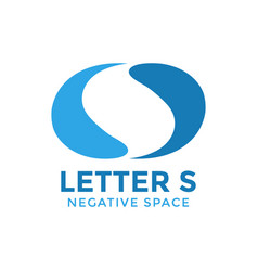 initial s negative space graphic design template vector image