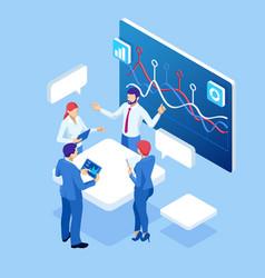 Isometric business data analytics process vector