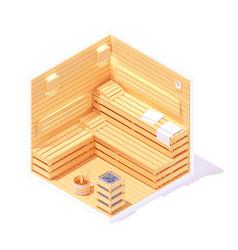 isometric sauna interior vector image