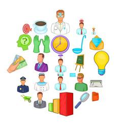 Job offer icons set cartoon style vector