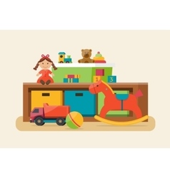 Kids toys in boxes vector