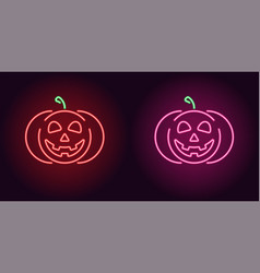 Kind neon pumpkin in red and pink color vector