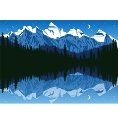 Lake near the pine forest in mountains vector