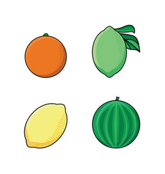 lemon lime orange and watermelon flat icon set vector image