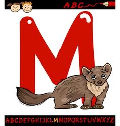 letter m for marten cartoon vector image