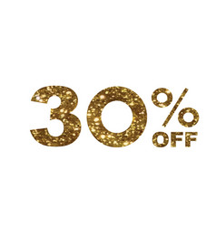 Luxury golden glitter thirty percent off special vector